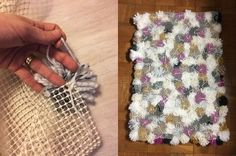 make your own pom pom rug, reupholster