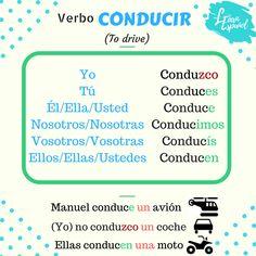 ‼Gramática LE‼  🇪🇸 Conducir  🇬🇧 To drive  #verbo #welearnespanol #Conducir #ELE #gramática #Todrive #grammar Learning Spanish, Learning Resources, Learn Espanol, Grammar, Boarding Pass, Irregular Verbs, Books, Language, Learn Spanish