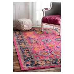 Persian Floral Garden Pink Rug - nuLOOM