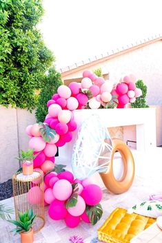 The balloon garland at this Tropical Bridal shower pool party is fantastic! See… The balloon garland at this Tropical Bridal shower pool party is fantastic! See…,Wedding Ideas The balloon garland at this Tropical Bridal. Bachlorette Party, Pool Party Decorations, Bachelorette Party Decorations, Bridal Decorations, Bachelorette Gift Bags, Pool Party Themes, Pool Parties, Bachelorette Weekend, Tropical Bridal Showers
