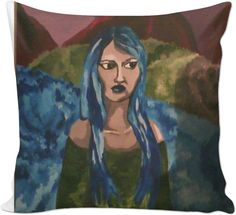 This is an old oil panting. It representes a blue haired woman in a forest.
