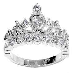 14K White Gold Princess Crown CZ Cubic Zirconia Ring (April) ** You can get more details by clicking on the image.