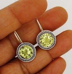 lemon quartz earrings solid silver 925 sterling jewelry natural gemstone 5.1 gm