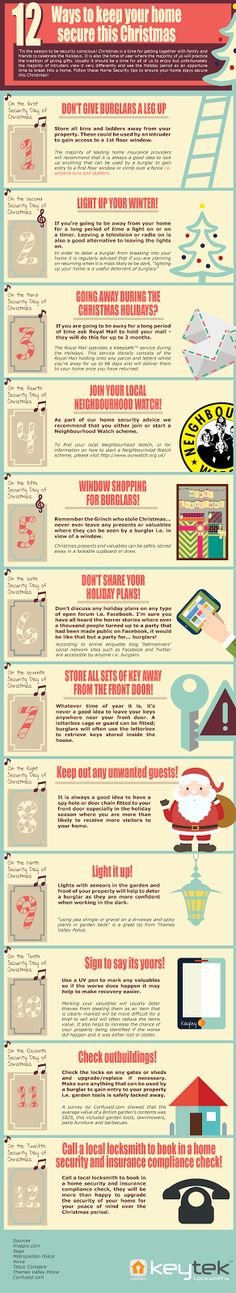 The 12 Home Security Tips of Christmas Infographic by Keytek Locksmiths / Stay secure this Christmas