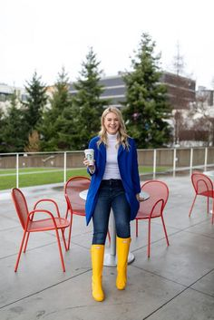 How to Wear Pantone's Color of the Year 2020: Classic Blue - Whit Wanders how to style a blue coat | how to style yellow rainboots | rainy day style | winter style | winter fashion