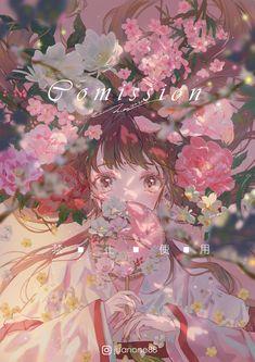 Anime Girl Cute, Anime Art Girl, Cute Anime Couples, Fantasy Illustration, Manga Illustration, Kawaii Art, Kawaii Anime, Anime Flower, Background Drawing