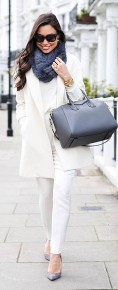 Classic White and Grey fall chic outfits | Street ...