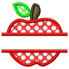 Split Apple Applique Embroidery Design 4x4 5x7 by AppliqueCandy