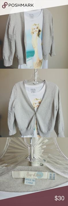 Grey Silver crop cardigan Gently worn. Excellent condition. Brand Boden. Size us14 but fits like Medium Anthropologie Sweaters Cardigans