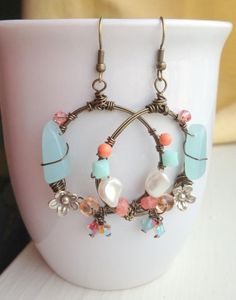 Turquoise Coral and Pearl Hoop Chandelier Wire by SarahKayeJewelry, $40.00