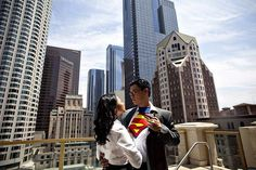 Karnis and Alex played tribute to Clark Kent and Lois Lane for their fun engagement photos in Metropolis.