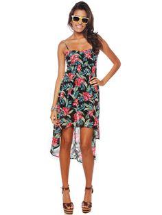 Flower print high-low dress $19.99 #flower #highlow #chiffon #dress