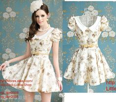 OL Kawaii Fashion Dolly sweet Cute elegant Princess Lolita Flower BOW Dress