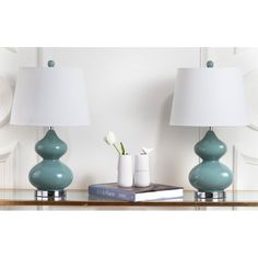 Wrought Studio Pluto 61cm Table Lamp Set & Reviews | Wayfair.co.uk Blue Table Lamp, Table Lamp Sets, Lamp Shade Store, Marine Blue, Formal Living Rooms, Glass Table, Light Bulb, Gourd, Home Decor
