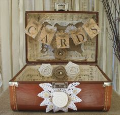 Vintage Suitcase Wedding Card Box Wedding Card Holder Wedding ...