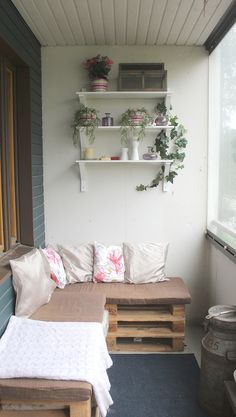Pallet furniture in balcony, pallet couch