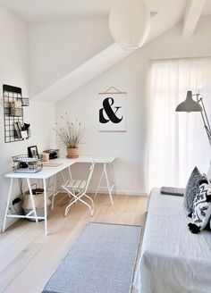 Study is ready! - simplylifeandme combines home office and guest room in one room. During the week, Scandinavian deco - Home Office Design, Home Office Decor, Home Decor, Office Designs, Office Ideas, Couch Magazin, Guest Room Office, Guest Rooms, Office Interiors