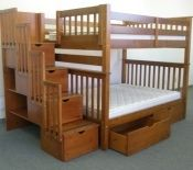 Bunk Bed Full over Full Stairway Expresso with 2 Additional Under Bed Drawers $1065