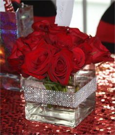 Centerpiece: red roses created for new york theme sweet 16 floral Quinceanera Decorations, Wedding Decorations, Table Decorations, Quinceanera Party, Decoration St Valentin, Sweet 16 Centerpieces, Square Vase Centerpieces, Red Wedding Centerpieces, Centerpiece Ideas