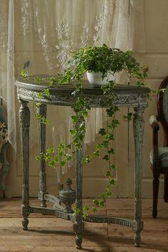 アンティーク コンソールテーブル(ブルーグレー)  French Antique Console Table