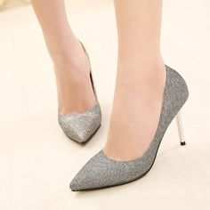 (27.99$)  Know more  - Fashion Women High Heels Pointed Toe Glittering Stilettos Shoes Party Pumps Silver