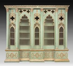 Italian Gothic Revival Cabinet Bookcase, 19th Century