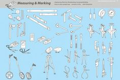 Measuring and Marking Graphics A library of 18 common measuring and marking tools. Ideal for creating User Manuals. Each part is fe by Industrial Artworks Business Brochure, Business Card Logo, Industrial Artwork, Technical Documentation, Working Hands, Plumbing Tools, Thick And Thin, Creative Sketches, Paint Markers