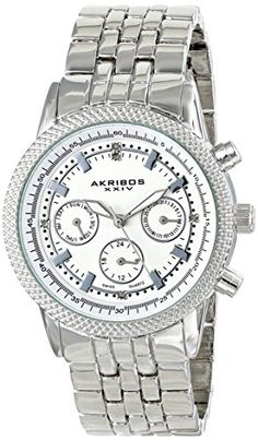Akribos XXIV Womens AK722SS Swiss Quartz Movement Watch with Silver Dial and Bracelet *** Check out the image by visiting the link.