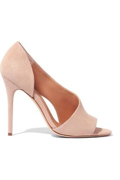 """Halston Heritage """"Lynn"""" Suede Pump in nude, featuring a half-d'Orsay silhouette, an asymmetric vamp with a side cut-out, an open toe and a very high wrapped stiletto heel 