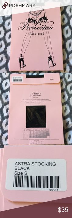NWT Agent Provocateur Astra Seam & Heel Stocking Unopened, in box. Classic black seamed hold up thigh high stockings.  Seamed on the heel and back of the leg. With added stretch for a comfortable fit. Size Small. Agent Provocateur Intimates & Sleepwear