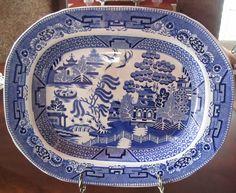 Staffordshire Blue Willow Platter / Roasting Dish - mid 1800s