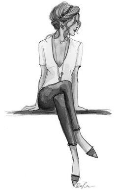 20 New Ideas Fashion Sketches Illustration Hair Drawing Sketches, Art Drawings, Pencil Drawings, Hipster Drawings, People Drawings, Sketching, Drawing Drawing, Sketch Art, Drawing People