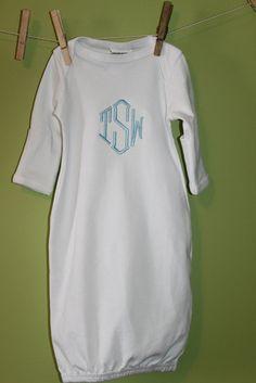 Monogrammed Baby Boy Gown by laurabellekids on Etsy, $20.00