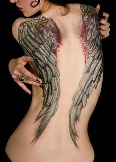 Angel Wing Tattoo On Back  http://goodlookonline.com
