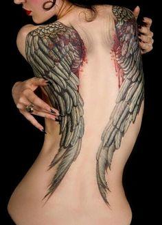 Angel Wing Tattoo On Back  http://goodlookonline.com