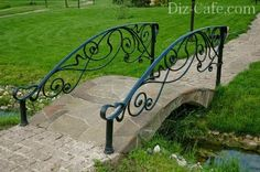 Ковка и искусственный камень Garden Gates, Garden Bridge, Garden Art, Garden Design, Wrought Iron Banister, Backyard Water Feature, Outdoor Garden Furniture, Pergola Plans, Garden Inspiration