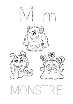 Fiche de graphisme avec la lettre M comme monstre (Script)