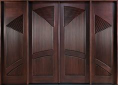 Modern Front Door Custom - Double with 2 Sidelites - Solid Wood with Dark Mahogany Finish, Modern, Model DD CST, Modern Modern Wooden Doors, Custom Wood Doors, Modern Front Door, Wooden Door Design, Main Door Design, Front Entry, Custom Exterior Doors, Wood Exterior Door, Exterior Design