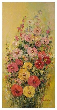 Malwy. Wypełniona kwiatami kompozycja o ciepłej kolorystyce wykonana farbami olejnymi na płótnie z efektem faktury, malowana szpachelką, sygnowana. Nie wymaga oprawy, boki zamalowane. Doskonały element dekoracyjny zarówno klasycznego i nowoczesnego wnętrza.