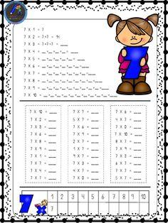 Hojas para repasar las tablas de multiplicar - Imagenes Educativas Teaching Multiplication, Teaching Math, School Worksheets, School Resources, Back 2 School, School Days, Math Exercises, School Frame, Maila