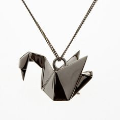 origami jewelery | Silver Necklaces gunmetal