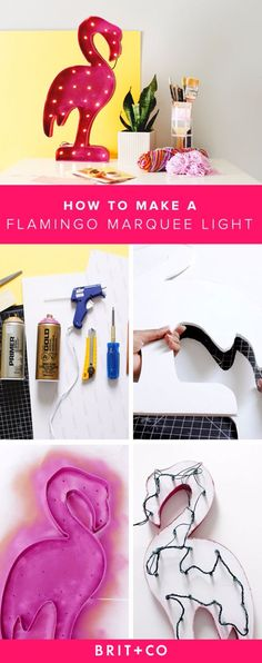 DIY Lighting Ideas for Teen and Kids Rooms - Flamingo Marquee Light - Fun DIY Lights like Lamps, Pendants, Chandeliers and Hanging Fixtures for the Bedroom plus cool ideas With String Lights. Perfect for Girls and Boys Rooms, Teenagers and Dorm Room Decor