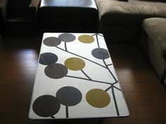 Finally giving the coffee table the facelift it deserves-Mod Podge coffee table. ~ Mod Podge Rocks!  (sheet music or planetary association)