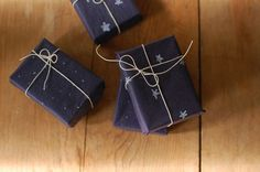 homemade gift wrap. Black paper and either chalk or white color pencil
