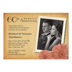 60th Anniversary Vintage Daisy Photo Invitations.  $2.30