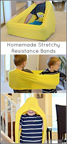 Tutorial for making your own stretchy resistance bands for proprioceptive sensory input for fidgety kids and for kids with sensory processing disorder and/or autism. Pinned by The Sensory Spectrum pinterest.com/sensoryspectrum