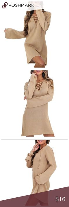 DEEP V NECK DRESS LISTING SOON Long Sleeve Lace Up V Neck Dress Long Shirt Knit Dress Sweater Dress. Will be updating more info ASAP. Also available in black. Dresses Long Sleeve