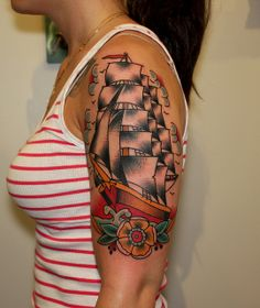 ship on girl tattoo myke chambers by Myke Chambers Tattoos,