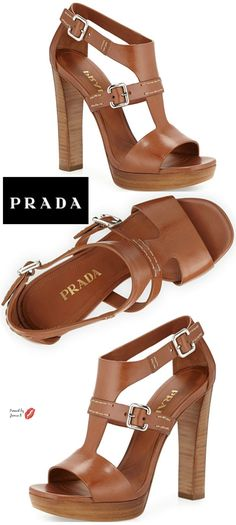 Prada Leather T-Strap Sandal, Brandy Shoe Boots, Shoes Heels, Pumps, Stilettos, Cute Shoes, Me Too Shoes, T Strap Sandals, Prom Shoes, Designer Shoes