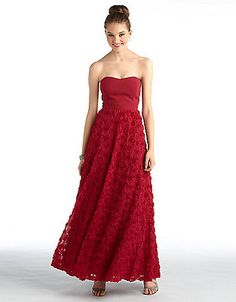 Betsy &amp- Adam Dress- Sleeveless Off-Shoulder Pleated Ombre Gown ...